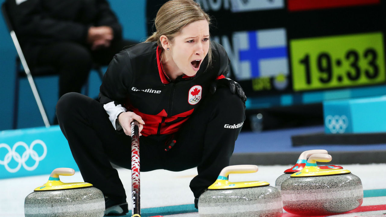 Kaitlyn-Lawes-of-Canada-shouts-instructions-after-placing-a-stone-during-the-Curling-Mixed-Doubles-Round-Robin-match-against-Norway-at-the-Gangneung-Curling-Centre-during-the-PyeongChang-2018-Olympic-Games,-South-Korea,-08-February-2018.-EPA/Javier-Etxezarreta