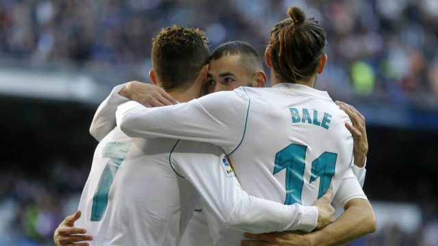Real-Madrid's-Cristiano-Ronaldo,-left,-Karim-Benzema,-centre,-and-Gareth-Bale-celebrate-a-goal-against-Alaves-during-the-Spanish-La-Liga-soccer-match-between-Real-Madrid-and-Alaves-at-the-Santiago-Bernabeu-stadium-in-Madrid,-Saturday,-Feb.-24,-2018.-Ronaldo-scored-twice-and-Benzema-and-Bale-once-each-in-Real-Madrid's-4-0-victory.-(Francisco-Seco/AP)