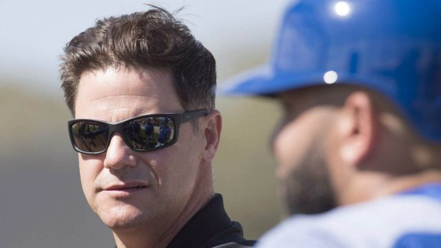 Toronto-Blue-Jays-general-manager-Ross-Atkins-keeps-an-eye-on-the-action-at-spring-training-in-Dunedin,-Fla.-on-Tuesday,-February-20,-2018.-(Frank-Gunn/CP)