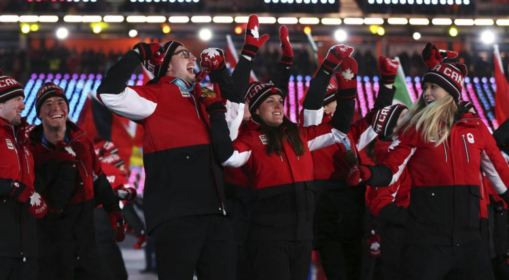 Team-Canada-walks-into-the-stadium-during-the-closing-ceremony-of-the-2018-Winter-Olympics-in-Pyeongchang,-South-Korea,-Sunday,-Feb.-25,-2018.-(Natacha-Pisarenko/AP)