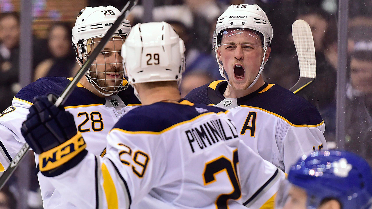 Buffalo-Sabres-centre-Jack-Eichel-(15)-celebrates-a-goal-against-the-Toronto-Maple-Leafs-in-March-2018