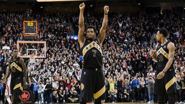 Toronto-Raptors-guard-Kyle-Lowry-(7)-reacts-after-defeating-the-Houston-Rockets-in-NBA-basketball-action-in-Toronto-on-Friday,-March-9,-2018.-(Christopher-Katsarov/CP)