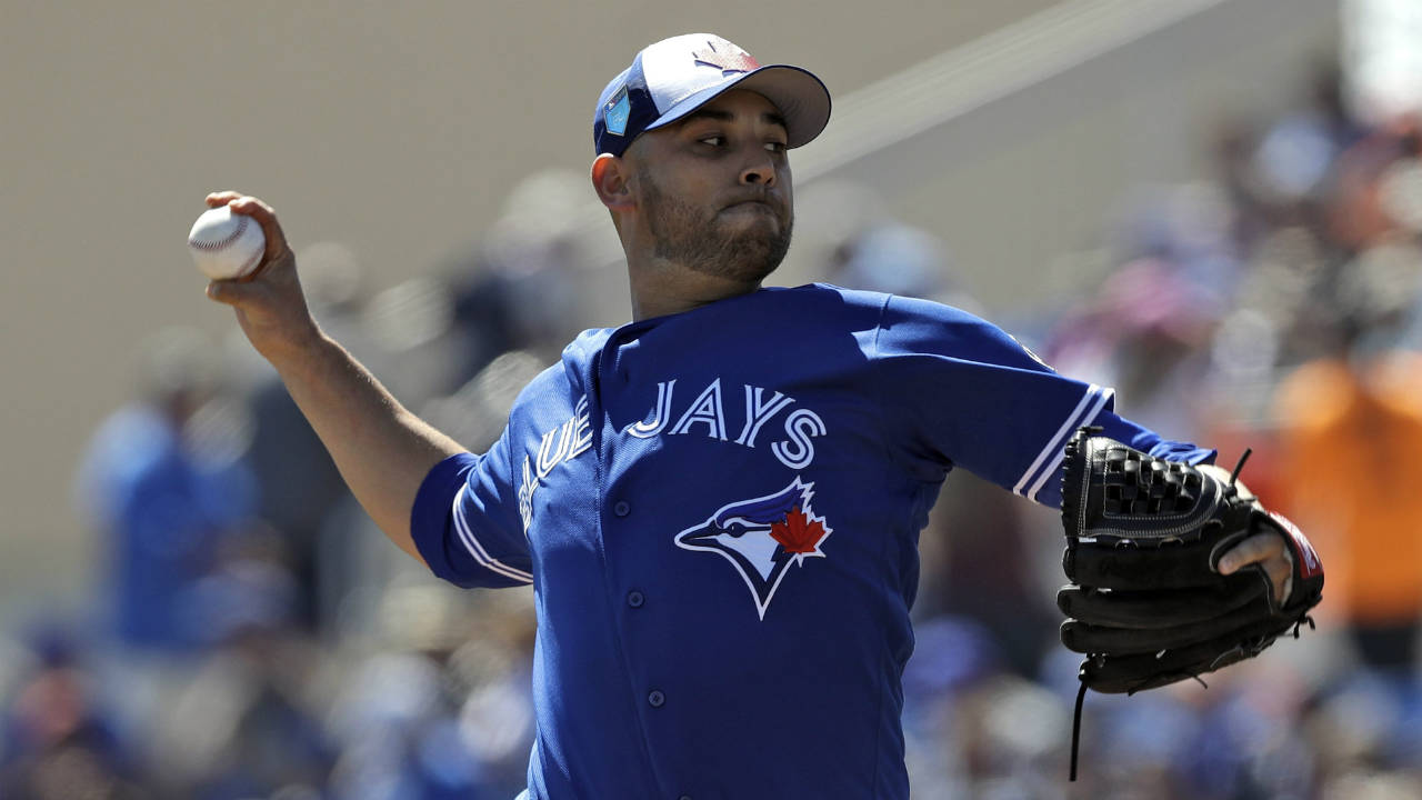 Toronto-Blue-Jays-starting-pitcher-Marco-Estrada-delivers-to-the-Baltimore-Orioles-during-the-first-inning-of-a-spring-training-baseball-game-Friday,-March-9,-2018,-in-Dunedin,-Fla.-(Chris-O'Meara/AP)
