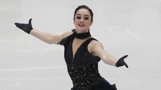 Kaetlyn-Osmond-of-Canada-performs-during-women's-short-program-at-the-Figure-Skating-World-Championships-in-Assago,-near-Milan,-Wednesday,-March-21,-2018.-(Antonio-Calanni/AP)