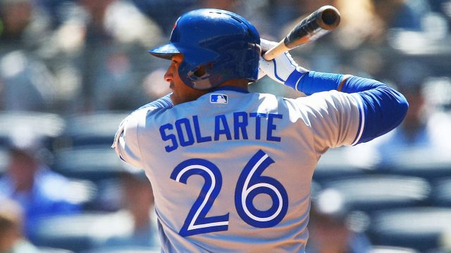 Toronto-Blue-Jays-infielder-Yangervis-Solarte-at-the-plate-in-a-game-against-his-former-team,-the-New-York-Yankees.