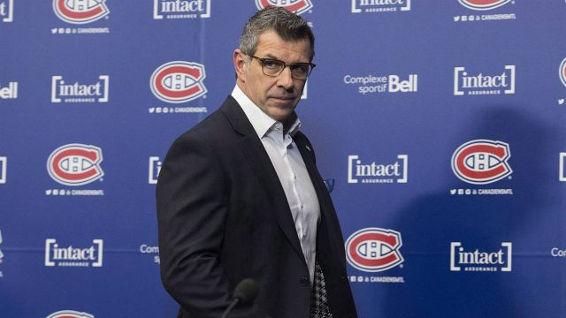 Montreal-Canadiens-general-manager-Marc-Bergevin-arrives-for-an-end-of-season-news-conference-in-Brossard,-Que.,-Monday,-April-9,-2018.-(Graham-Hughes/CP)