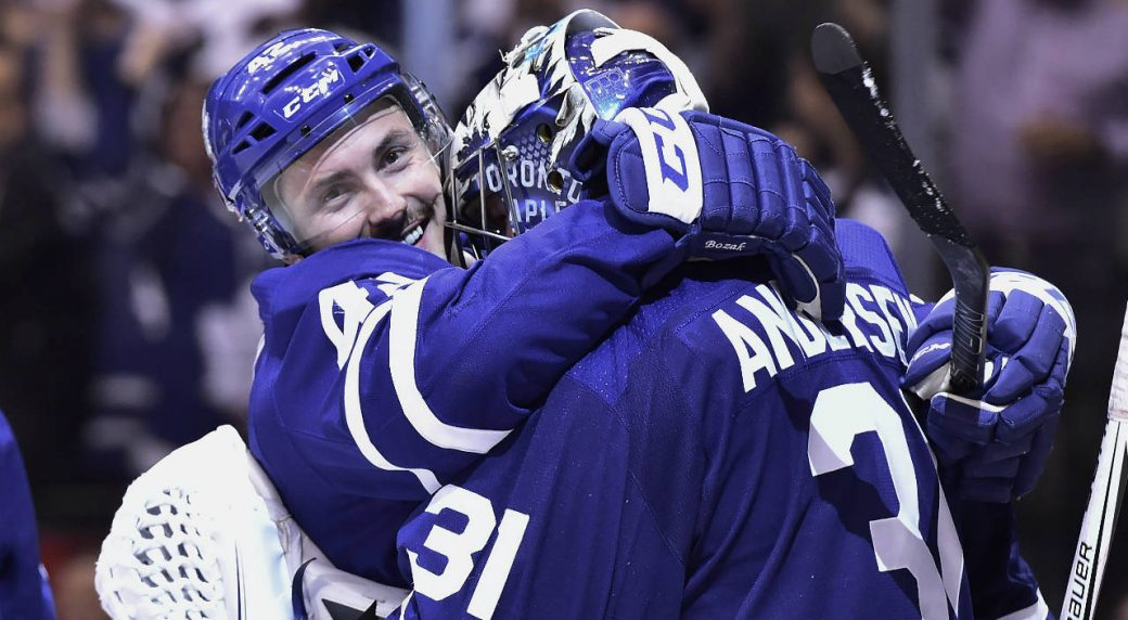 Toronto-Maple-Leafs-centre-Tyler-Bozak-(42)-and-goaltender-Frederik-Andersen-(31)-celebrate-their-win-over-the-Boston-Bruins-in-NHL-round-one-playoff-hockey-action-in-Toronto-on-Monday,-April-23,-2018.-(Frank-Gunn/CP)
