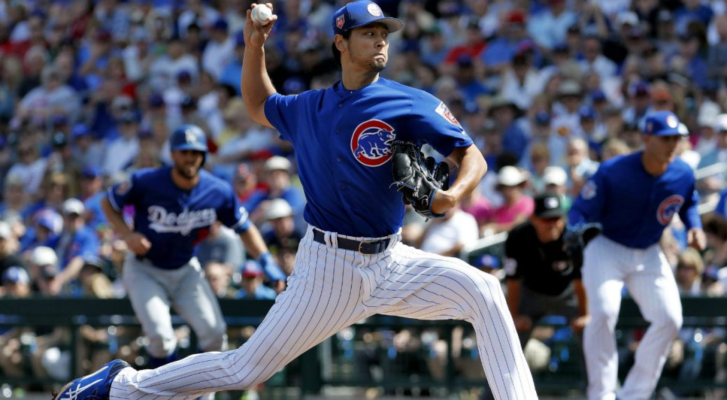 Chicago-Cubs-pitcher-Yu-Darvish-throws-during-the-first-inning-of-a-spring-training-baseball-game-against-the-Los-Angeles-Dodgers,-Tuesday,-March-6,-2018,-in-Mesa,-Ariz.-(AP-Photo/Matt-York)