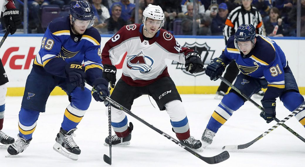 St.-Louis-Blues-forward-Ivan-Barbashev-reaches-for-the-puck-during-an-NHL-hockey-game-on-Jan.-25,-2018