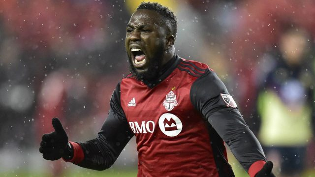 Toronto-FC-forward-Jozy-Altidore-(17)-celebrates-his-goal-against-Club-America-during-first-half-CONCACAF-Champions-League-semifinal-action-in-Toronto-on-Tuesday,-April-3,-2018.-(Frank-Gunn/CP)