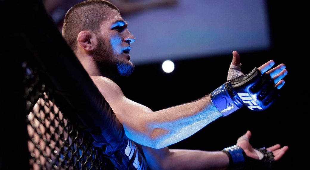 Khabib-Nurmagomedov-leans-on-the-cage-following-a-win-over-Thiago-Tavares