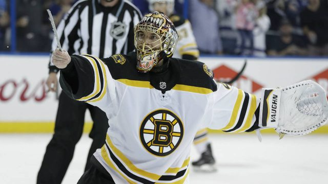 Boston-Bruins-goaltender-Tuukka-Rask-tries-to-show-the-officials-his-broken-skate-blade-on-a-goal-by-Tampa-Bay-Lightning-defenseman-Mikhail-Sergachev-during-the-second-period-of-Game-1-of-an-NHL-second-round-hockey-playoff-series-Saturday,-April-28,-2018,-in-Tampa,-Fla.-(Chris-O'Meara/AP)
