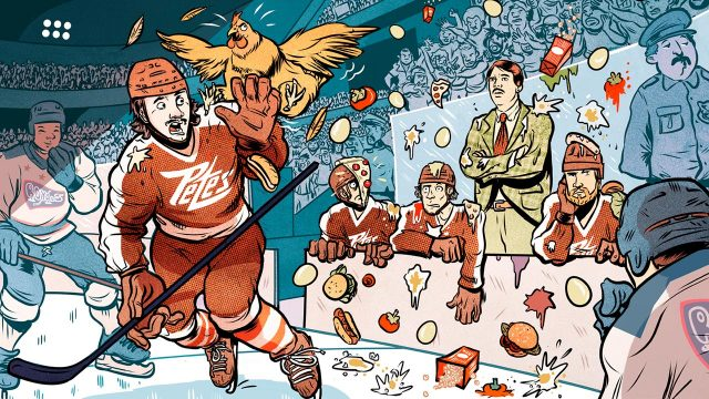 The-Peterborough-Petes-get-pelted-with-food,-bottles-and-a-live-chicken-during-the-1980-Memorial-Cup-final.