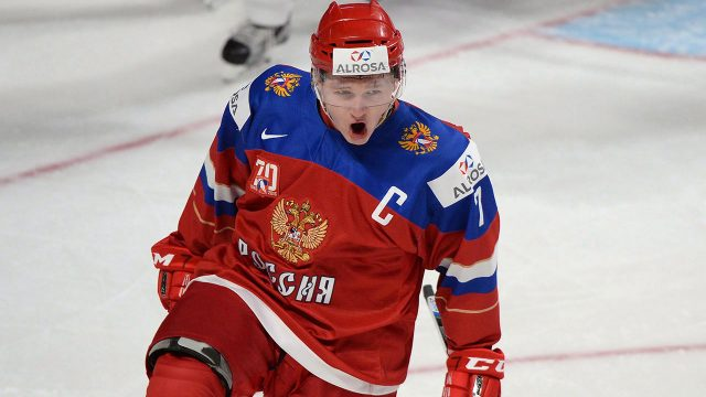 Russia's-Kirill-Kaprizov-celebrates-his-goal-against-the-United-States-during-first-period-semifinal-IIHF-World-Junior-Championship-hockey-action-in-2017.
