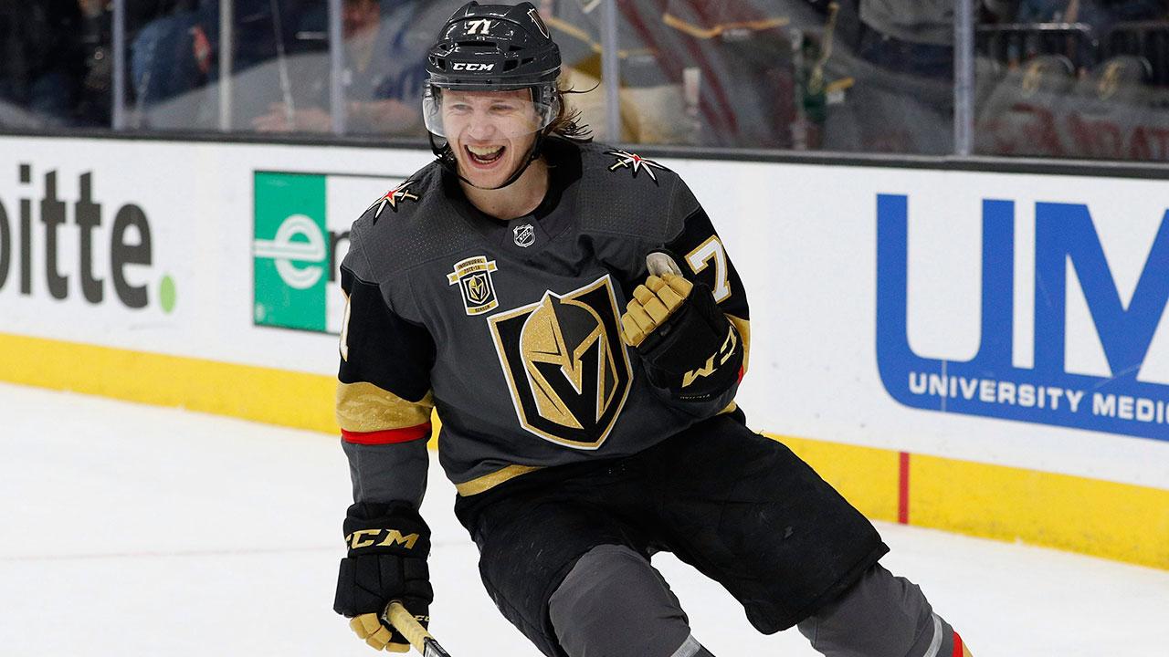 Vegas-Golden-Knights-forward-William-Karlsson-celebrates-after-scoring-an-empty-net-goal.