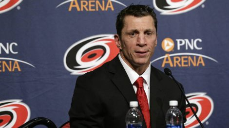 Carolina-Hurricanes-new-head-coach-Rod-Brind'Amour-takes-questions-during-an-introductory-NHL-hockey-news-conference-in-Raleigh,-N.C.,-Wednesday,-May-9,-2018.-(Gerry-Broome/AP)
