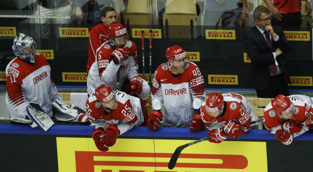 Players-of-Denmark-during-the-Ice-Hockey-World-Championships-group-B-match-between-Denmark-and-Latvia-at-the-Jyske-Bank-Boxen-arena-in-Herning,-Denmark,-Tuesday,-May-15,-2018.