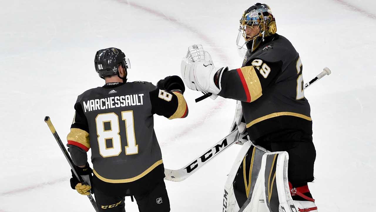 Vegas-Golden-Knights-centre-Jonathan-Marchessault,-left,-celebrates-with-goaltender-Marc-Andre-Fleury
