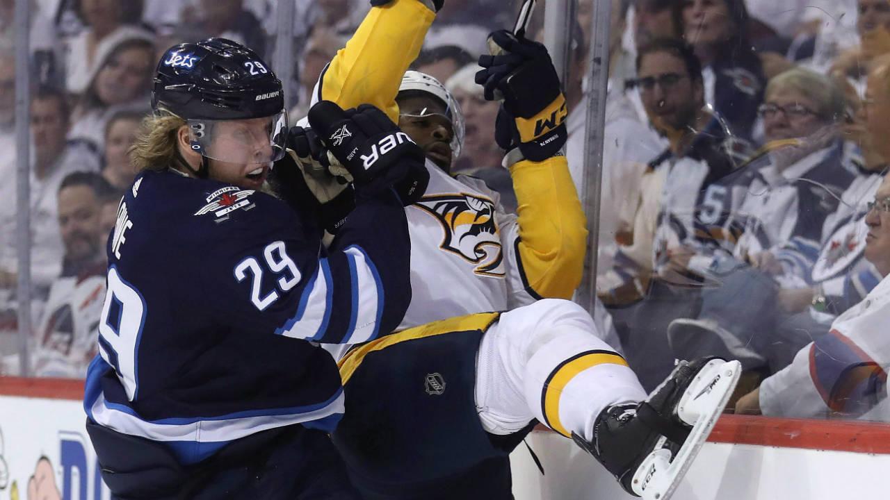 Winnipeg-Jets'-Patrik-Laine-(29)-hits-Nashville-Predators'-P.K.-Subban-(76)-during-second-period-NHL-hockey-playoff-action-in-Winnipeg-on-Tuesday-May-1,-2018.-(Trevor-Hagan/CP)