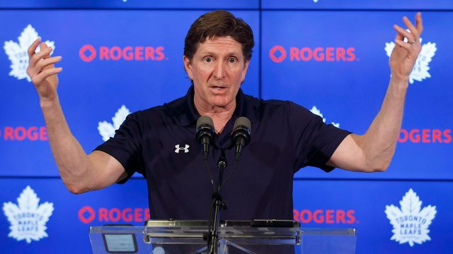 Toronto-Maple-Leafs-head-coach-Mike-Babcock-speaks-to-reporters-during-an-end-of-season-press-conference-at-the-Air-Canada-Centre-in-Toronto.