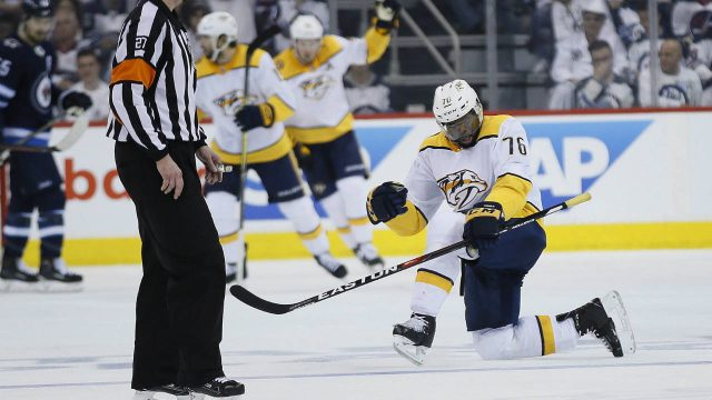 Nashville-Predators'-P.K.-Subban-(76)-celebrates-his-goal-against-the-Winnipeg-Jets-during-second-period-NHL-round-two-game-four-playoff-action-in-Winnipeg-on-Thursday,-May-3,-2018.-(John-Woods/CP)