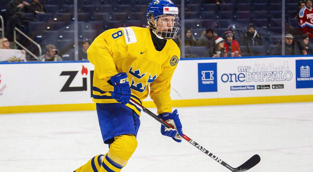 Sweden's-Rasmus-Dahlin-skates-during-first-period-IIHF-World-Junior-Championship-preliminary-hockey-action-against-Russia.