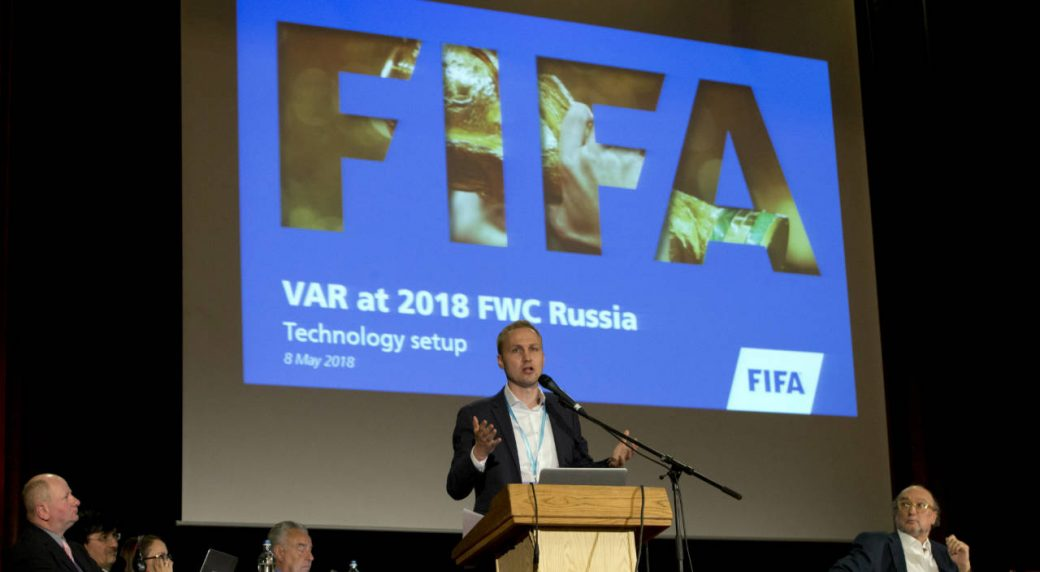 Germany's-Johannes-Holzmueller,-FIFA-Director-of-Soccer-Technology,-speaks-during-a-media-conference-regarding-the-Video-Assistant-Referee-(VAR)-at-a-hotel-in-Brussels-on-Tuesday,-May-8,-2018.-(Virginia-Mayo/AP)