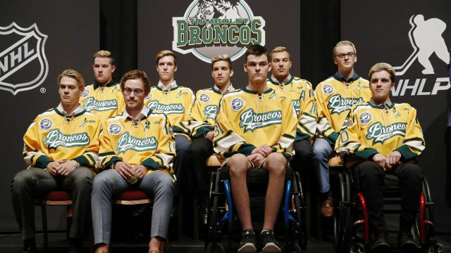 Members-of-the-Humboldt-Broncos-hockey-team-attend-a-news-conference-Tuesday,-June-19,-2018,-in-Las-Vegas.-The-Saskatchewan-junior-hockey-team's-bus-was-in-a-collision-with-a-semi-trailer-on-a-rural-highway-in-April-resulting-in-multiple-fatalities-and-injuries.