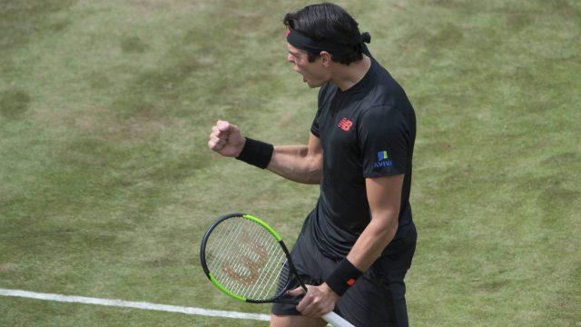 Milos-Raonic-celebrates-after-he-beats-Lucas-Pouille-in-their-semifinal-tennis-match-during-the-ATP-Mercedes-Cup-in-Stuttgart,-Saturday-June-16,-2018.-(Marijan-Murat/dpa-via-AP)