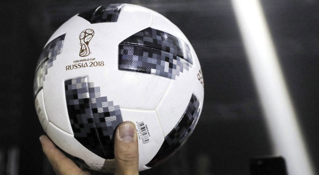The-official-match-ball-for-the-2018-soccer-World-Cup-in-Russia-is-displayed-during-the-unveiling-ceremony-in-Moscow,-Russia,-Thursday,-Nov.-9,-2017.-Lionel-Messi-has-presented-the-ball-for-next-year's-World-Cup-in-Russia.-The-Telstar-18-has-a-retro-black-and-white-design-harking-back-to-the-original-Adidas-Telstar-ball-used-for-the-1970-World-Cup.-(Oleg-Shalmer/AP)