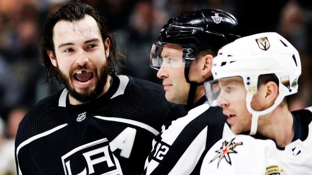NHL-Kings-Doughty-reacts-after-hit-by-stick-against-Golden-Knights