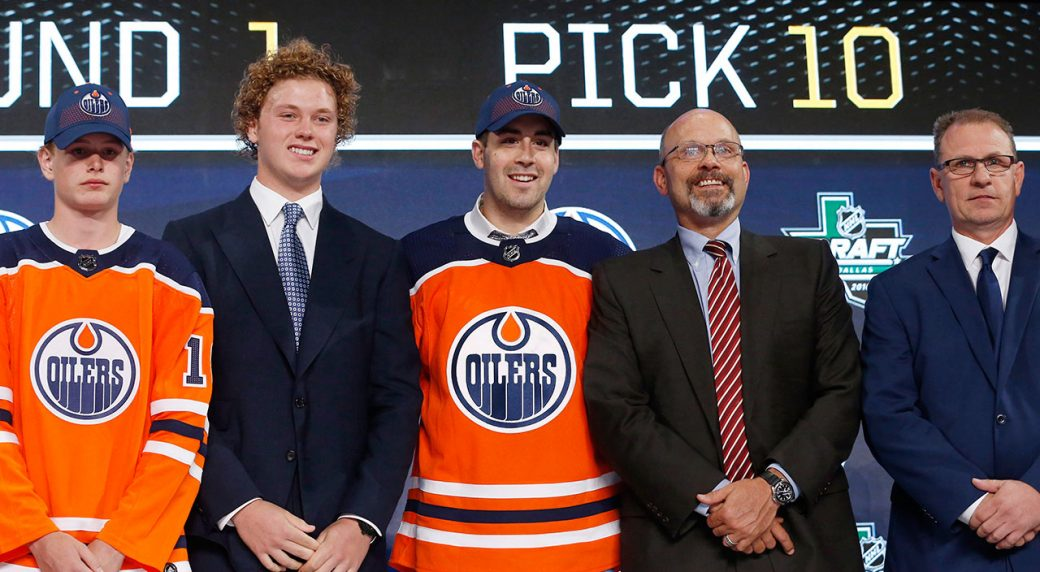 NHL-Oilers-first-round-pick-Evan-Bouchard-at-NHL-Draft