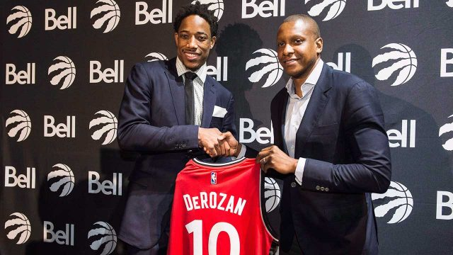 masai-ujiri-and-demar-derozan-at-toronto-raptors-press-conference