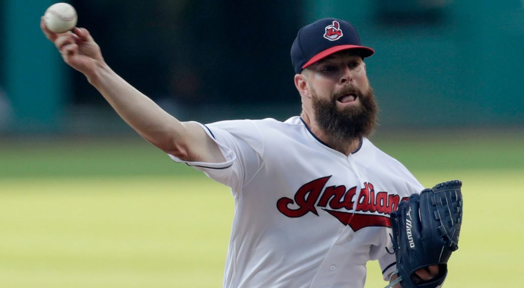 MLB-Indians-Kluber-pitching-against-Angels