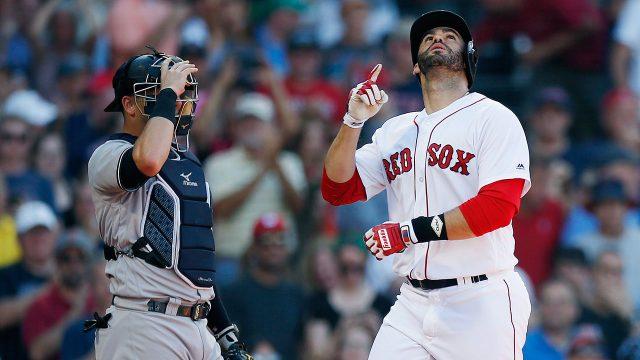MLB-Red-Sox-Martinez-celebrates-home-run-against-Yankees
