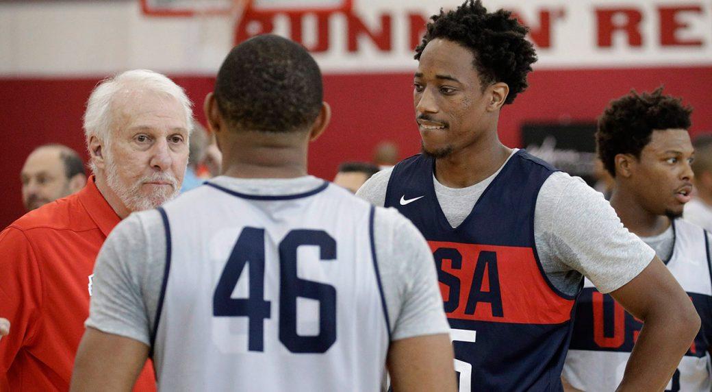 NBA-Spurs-DeMar-DeRozan-with-head-coach-Gregg-Popovich