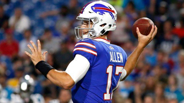NFL-Bills-quarterback-Josh-Allen-throwing-in-preseason-game-against-Panthers
