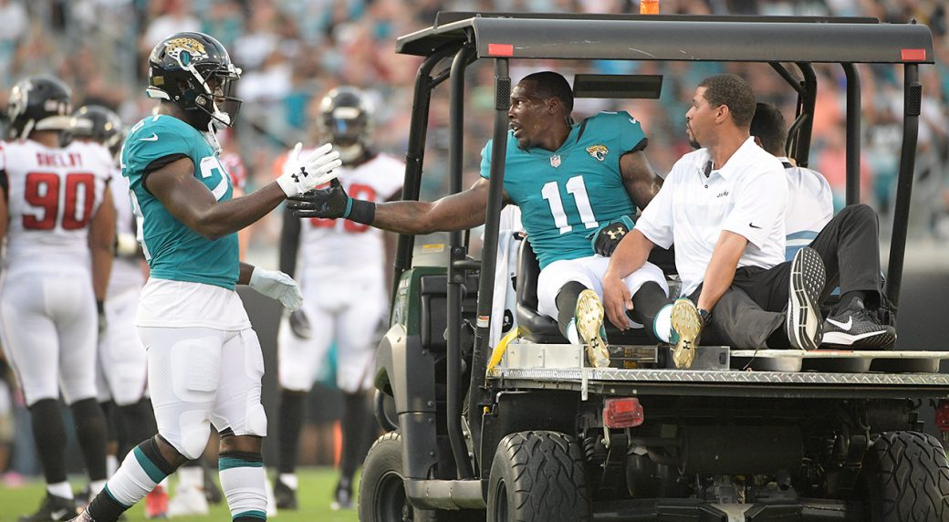 7fcc2f35 Jaguars receiver Marqise Lee out for season after helmet hit to knee ...