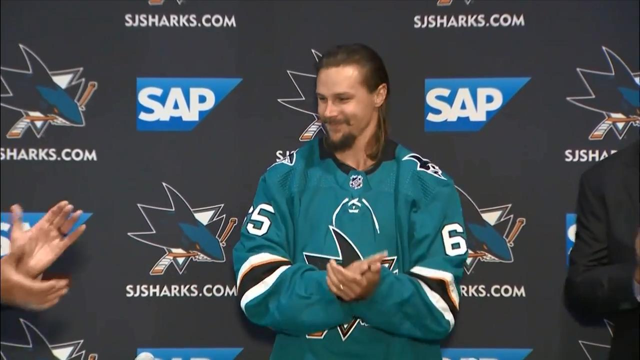 best authentic 84c1d e00ec Erik Karlsson puts on Sharks jersey for the first time ...