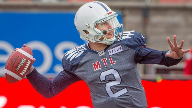 CFL-football-Alouettes-Manziel-throws-against-Roughriders