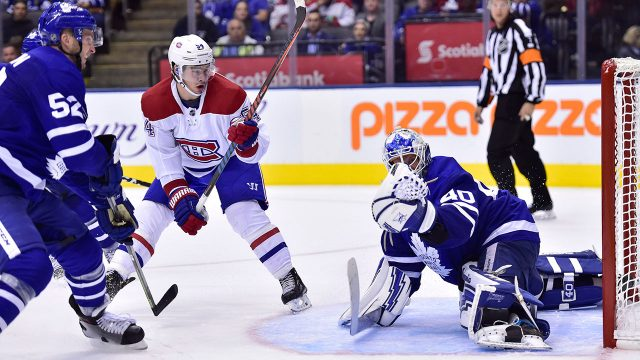 NHL-Maple-Leafs-Sparks-makes-save-on-Canadiens-Hudon