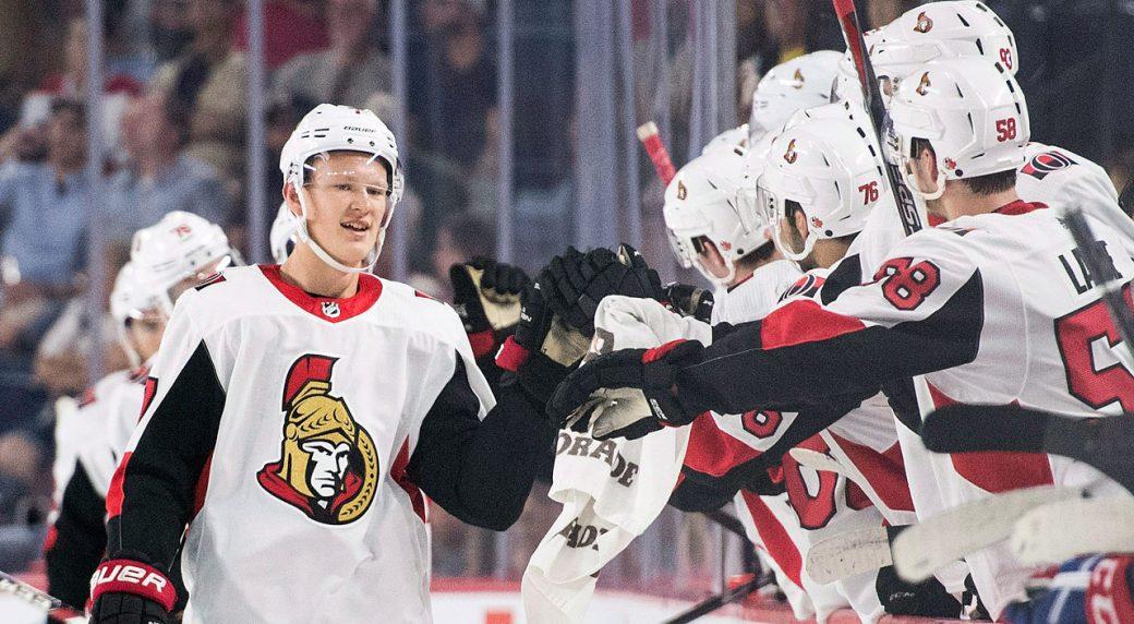 Brady Tkachuk Scores Twice Senators Beat Canadiens In Rookie Game