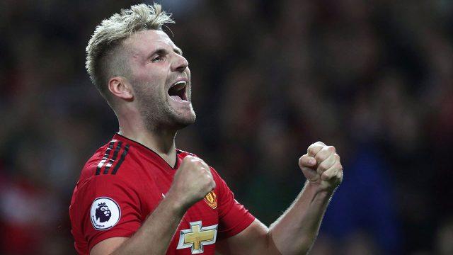 Soccer-EPL-Luke-Shaw-celebrates-after-goal