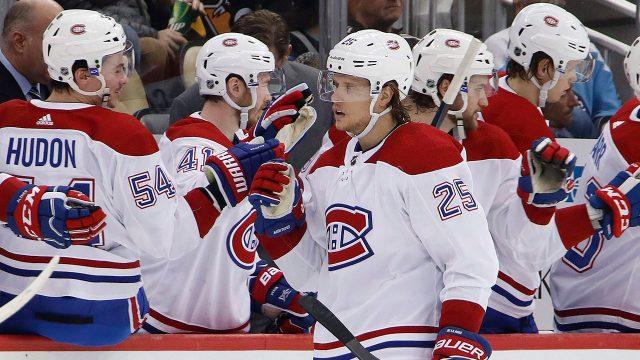 NHL-Canadiens-de-la-Rose-celebrates-goal-against-PenguinsNHL-Canadiens-de-la-Rose-celebrates-goal-against-Penguins
