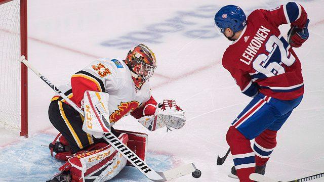 NHL-Flames-Rittich-makes-save-on-Canadiens-Lehkonen