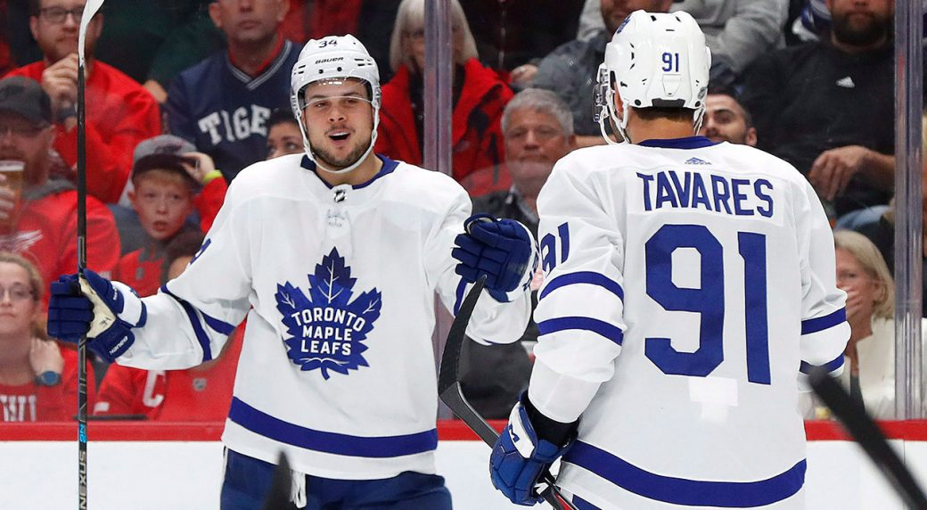 NHL-Maple-Leafs-Matthews-celebrates-with-Tavares