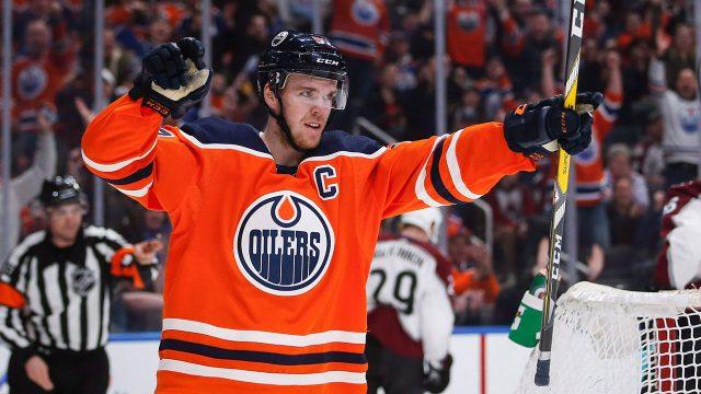NHL-Oilers-McDavid-celebrates-goal-against-Avalanche