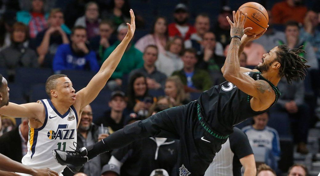 b27b87eb Derrick Rose scores career-high 50 as Timberwolves top Jazz.  derrick_rose_attempts_a_shot. Minnesota ...