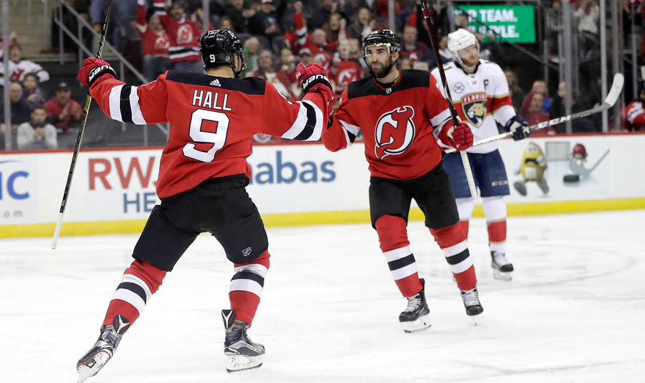 devils-taylor-hall-celebrates-goal-with-kyle-palmieri