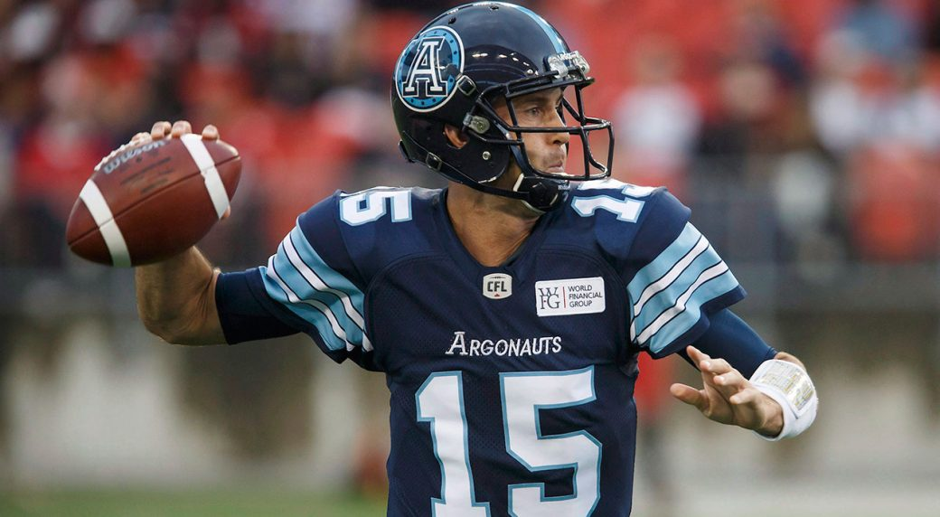 CFL-Argonauts-QB-Ricky-Ray-throws-against-Stampeders